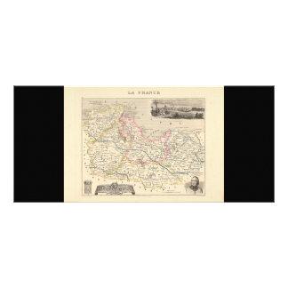 1858 Map of Cotes du Nord Department, France Rack Card