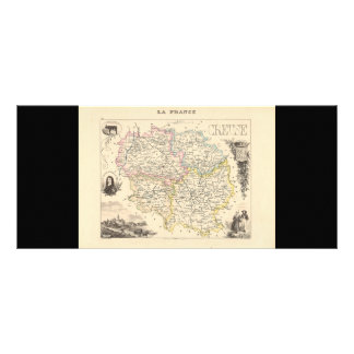 1858 Map of Creuse Department, France Rack Card Template