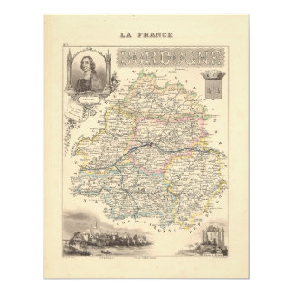1858 Map of Dordogne Department, France 4.25x5.5 Paper Invitation Card