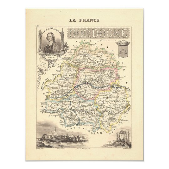 1858 Map of Dordogne Department, France Card