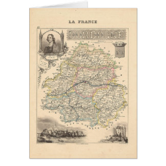1858 Map of Dordogne Department, France Card