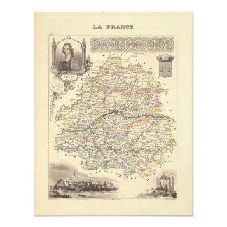 "1858 Map of Dordogne Department, France 4.25"" X 5.5"" Invitation Card"