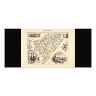 1858 Map of Doubs Department, France Rack Cards