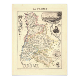 1858 Map of Drome Department, France 4.25x5.5 Paper Invitation Card