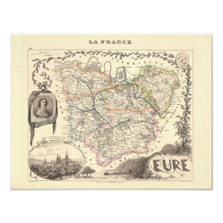 1858 Map of Eure Department, France 4.25x5.5 Paper Invitation Card