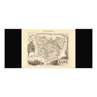1858 Map of Eure Department, France Rack Card