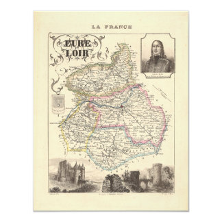 1858 Map of Eure et Loir Department, France 4.25x5.5 Paper Invitation Card