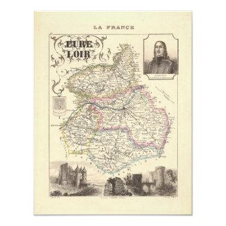 "1858 Map of Eure et Loir Department, France 4.25"" X 5.5"" Invitation Card"