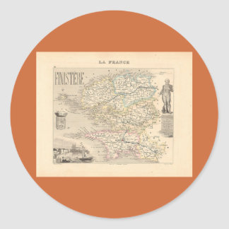 1858 Map of Finistere Department, France Classic Round Sticker
