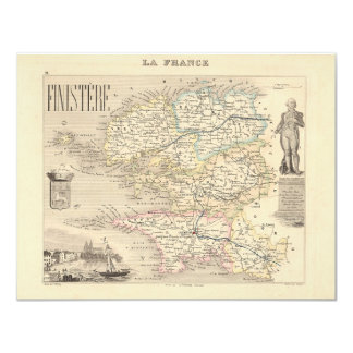 """1858 Map of Finistere Department, France 4.25"""" X 5.5"""" Invitation Card"""