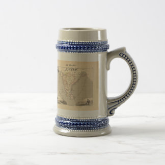 1858 Map of French India (Inde, France) Beer Stein