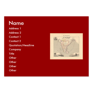 1858 Map of French India Inde France Business Card Templates