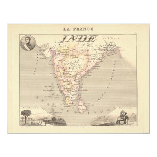 """1858 Map of French India (Inde, France) 4.25"""" X 5.5"""" Invitation Card"""