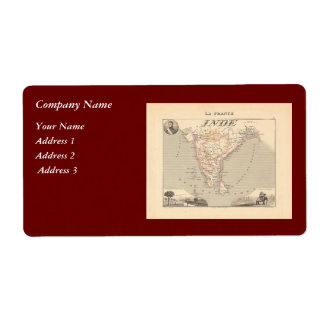 1858 Map of French India (Inde, France) Label
