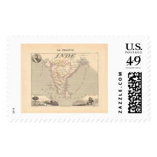 1858 Map of French India (Inde, France) Postage
