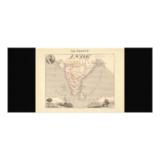 1858 Map of French India (Inde, France) Rack Card