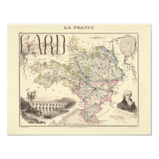"""1858 Map of Gard Department, France 4.25"""" X 5.5"""" Invitation Card"""