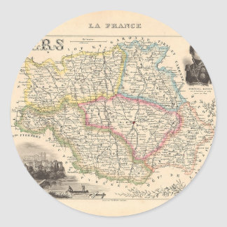 1858 Map of Gers Department, France Classic Round Sticker