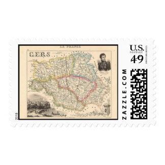 1858 Map of Gers Department, France Postage