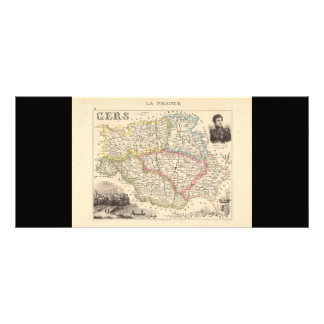 1858 Map of Gers Department, France Full Color Rack Card