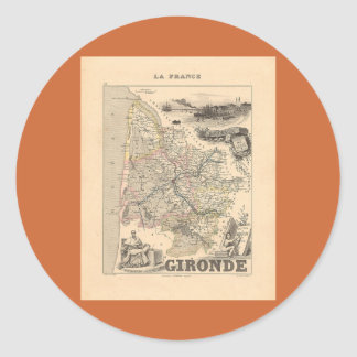 1858 Map of Gironde Department, France Classic Round Sticker