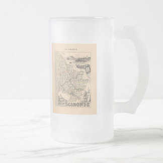 1858 Map of Gironde Department, France Frosted Glass Beer Mug