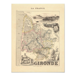"""1858 Map of Gironde Department, France 4.25"""" X 5.5"""" Invitation Card"""