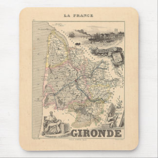 1858 Map of Gironde Department, France Mouse Pad