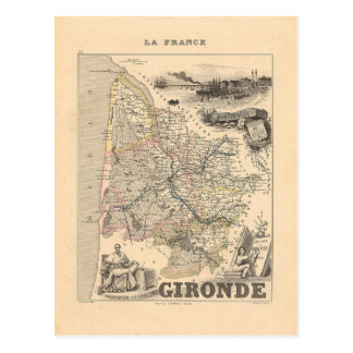 1858 Map of Gironde Department, France Postcard