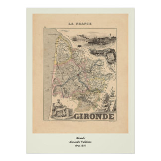 1858 Map of Gironde Department, France Poster