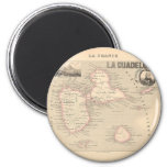 1858 Map of Guadeloupe Department, France 2 Inch Round Magnet