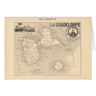 1858 Map of Guadeloupe Department, France Card