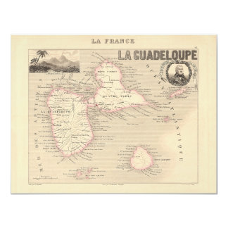 """1858 Map of Guadeloupe Department, France 4.25"""" X 5.5"""" Invitation Card"""