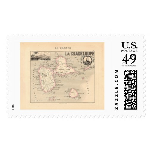 1858 Map of Guadeloupe Department, France Postage