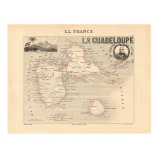 1858 Map of Guadeloupe Department, France Postcard