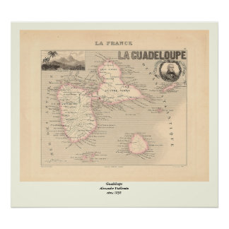 1858 Map of Guadeloupe Department, France Poster