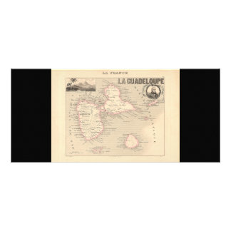 1858 Map of Guadeloupe Department, France Rack Card