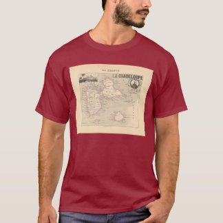 1858 Map of Guadeloupe Department, France T-Shirt