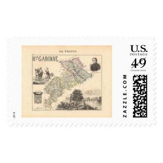 1858 Map of Haute Garonne Department, France Postage