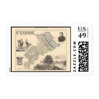 1858 Map of Haute Garonne Department, France Postage Stamp
