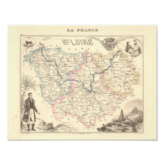 1858 Map of Haute Loire Department, France 4.25x5.5 Paper Invitation Card