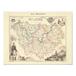 1858 Map of Haute Loire Department, France 4.25x5.5 Paper Invitation Card