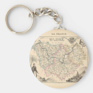 1858 Map of Haute Loire Department, France Keychain