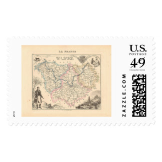 1858 Map of Haute Loire Department, France Stamp
