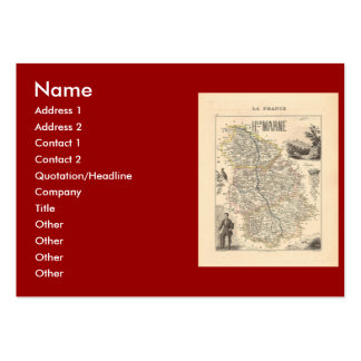 1858 Map of Haute Marne Department France Business Card Template