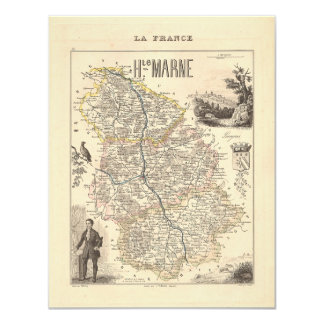"""1858 Map of Haute Marne Department, France 4.25"""" X 5.5"""" Invitation Card"""