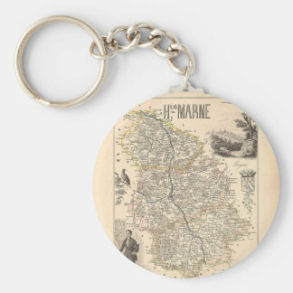 1858 Map of Haute Marne Department, France Keychain