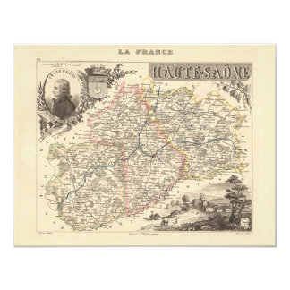 1858 Map of Haute Saone Department, France Card