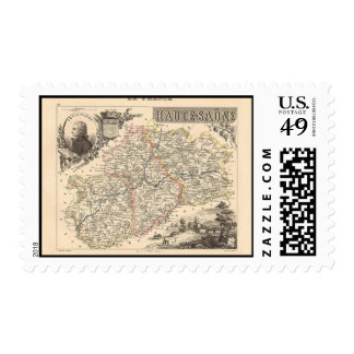 1858 Map of Haute Saone Department, France Postage Stamp
