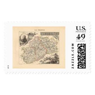 1858 Map of Haute Saone Department, France Postage